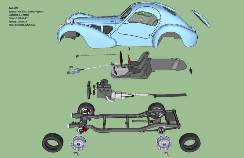 Bugatti Atlantic Replica Project 3d Computer Model